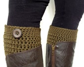 Crochet Boot Cuffs in Deep Olive Green Pure Wool Fall Winter Accessory