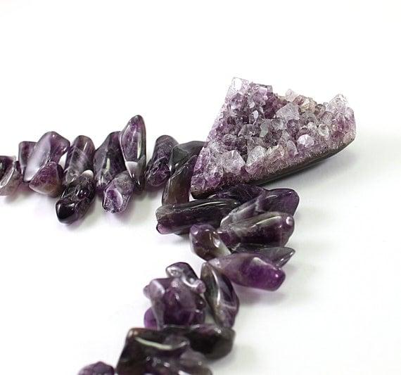 Big druzy necklace - purple stone chunky necklace drusy amethyst necklace, natural raw gemstone jewelry raw amethyst druzy necklace