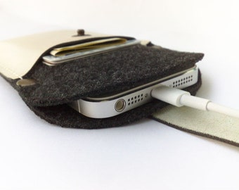 New Sleeve case wallet  with black felt and off white cowhide leather for iPhone 6 cell phone pocket card holder off white thread initials