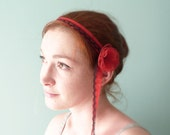 Red Flower headband black lace & silk OOAK by Jye, Hand-made in France