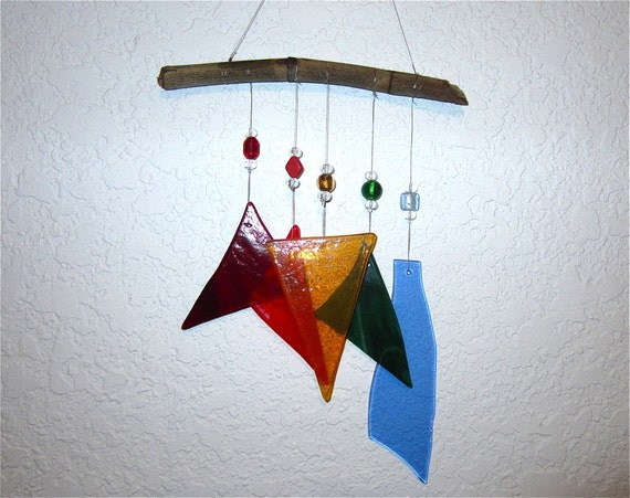 Recycled Stained Glass and Drift Wood Wind Chime