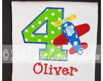 Birthday Appliqued Number with Plane Bodysuit or Shirt