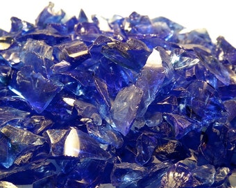 Cobalt Blue Glass Transparent Chips Recycled 1/2 pound (C111)