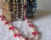 MARKDOWN - Elegant Pink and White Pearl Beaded Necklace