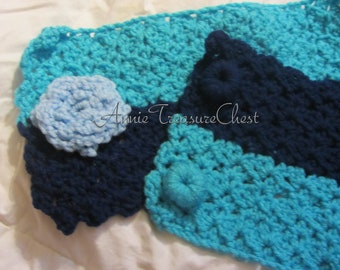 NEW MARKDOWN - Light, Bright, and Navy Blues Short Crocheted Scarf