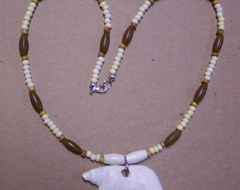 Native American Custom One Of A Kind Necklace  Made to Order Beaded and Bone Animal Carving Handmade by Hidden Bear
