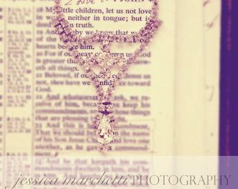 Biblical Wall Art, Bible Photography, Fine Art Photography Wall Art, antique pendant with scripture, mounted photograph print