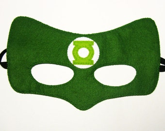 Green Lantern Superhero mask (2 years - adult size) - fun soft kids Birthday party favor Dress up Pretend School play Photo prop accessory