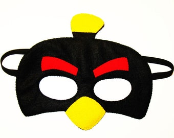 Angry Bird felt mask - Black - bird costume for kids teens adult - gift for boys girls - soft felt Dress up play accessory Theatre roleplay