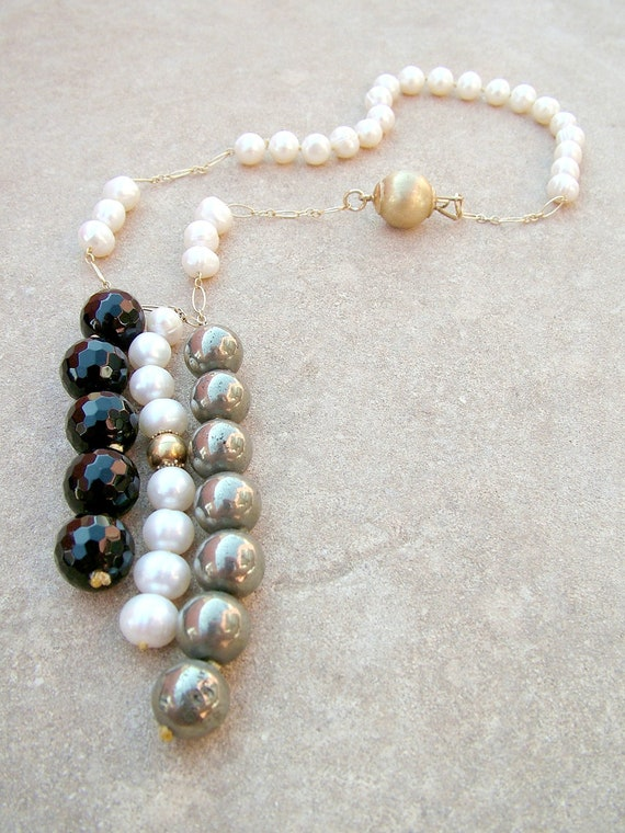 Black and white Statement Necklace - White Pearl Necklace OOAK Chain, Black Onyx, Gold Pyrite, Vermeil