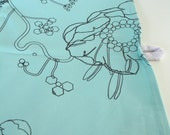 """Limited Edition- Tea Towel """"Miss Minty loves Mr Pistache"""" turquoise"""