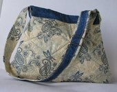 SALE.............Embroider blue and cream paisley, butterfly  flowered purse