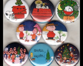 "8 Brand New 1"" Buttons ""Charlie Brown & Snoopy Set"""
