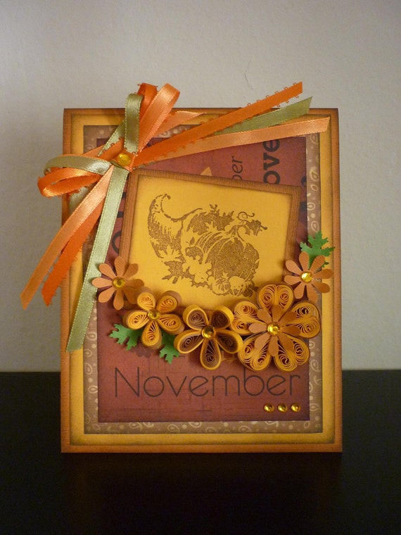 Handmade Quilled Happy Thanksgiving Card with Autumn Flowers