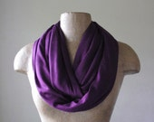 PURPLE Infinity Scarf - Eggplant Circle Scarf - Lightweight Heliotrope Jersey Scarf - Loop Scarf, Eternity Scarf