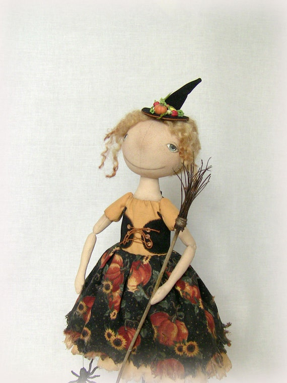 Halloween witch cloth art  handmade OOAK doll- Witch with cat, broom and a spider.