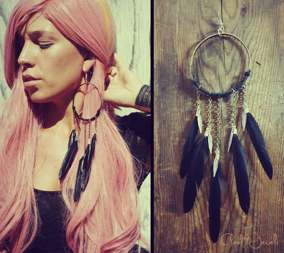 Handmade Large Black Dream Catcher Feather Earring, Feather Symbolism, Leather Earring, Tribal, Bohemian, Hippie, Earring, Single Earring