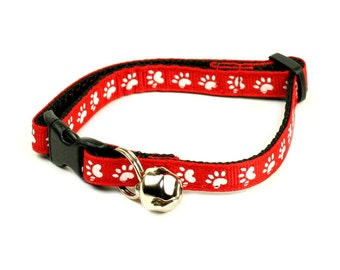 Cat Collar - White Paws on Red