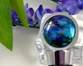 Fused Glass Wine Stopper Dichroic  Purple Green Blue Black 192