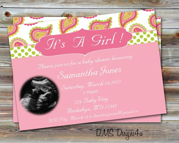 Ultrasound Photo Baby Shower Invitation customized for you to print..DIY