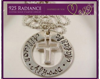 ETERNITY CROSS - Personalized Sterling Silver  Hand Stamped Necklace