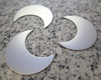 """1 1/2"""" (38MM) Crescent Moon Stamping Blanks, 22g Stainless Steel - AWESOME Silver Alternative M12"""