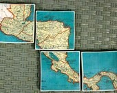 Vintage Turquoise Map Coasters - Central America Costa Rica Set of 4