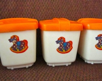 Vintage Nursery storage boxes holders containers Clarolyte 1950 plastic orange and white rocking horse baby room decor set of 3 and lids