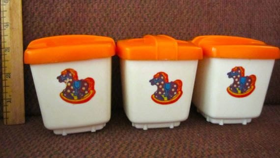 Nursery storage containers boxes holders Clarolyte 1950 plastic orange and white Vintage baby room rocking horse decor set of 3 and lids