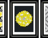 Set of Three Modern Yellow/Gray Wall Art - Print Set - Home Decor (Unframed)