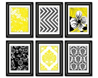 Set of Six Modern inspired /Vintage Yellow/Black Art Print Collection (Unframed)