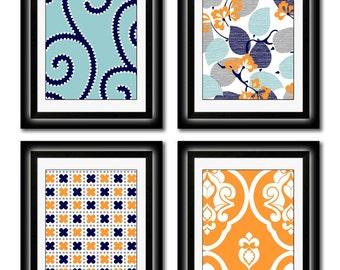 Set of Four Modern Vintage Orange/Turquoise  Wall Art - Print Set - Home Decor - 8x11 Prints (Unframed)