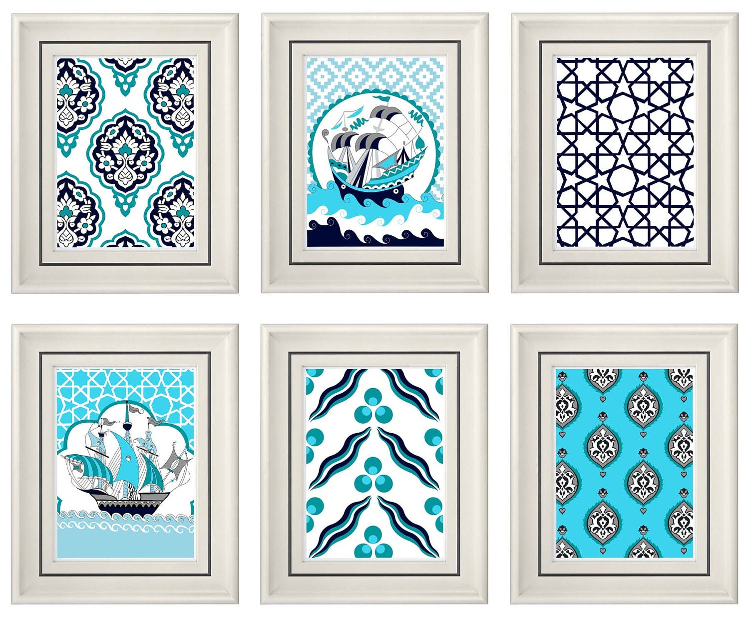 Set of Six Modern Vintage Turquoise Wall Art Print by catsbeads