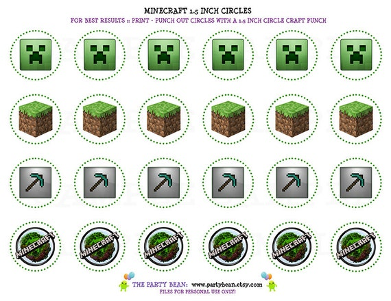 Displaying (19) Gallery Images For Printable Minecraft Cupcake Toppers ...