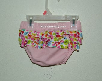 Ruffle Pink Diaper Cover with Vine Ruffles