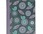 Pretty Pocket Notebook, Bird Pattern, Deep Blue, Purple, Green, Blank Pages