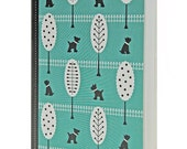 Cute Pocket Notebook, Dog Pattern, Turquoise, Black, White, Blank Pages
