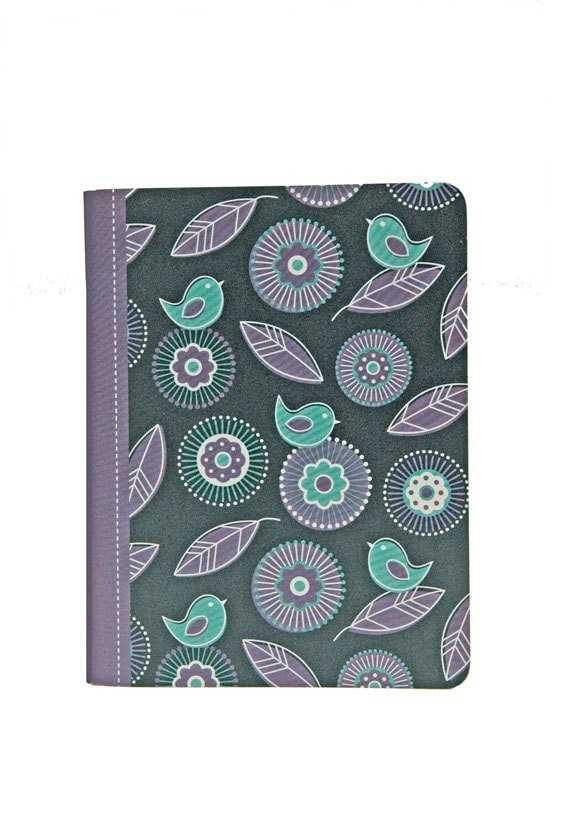 Pretty Pocket Notebook, Bird Pattern, Deep Blue, Purple, Green, Blank Pages