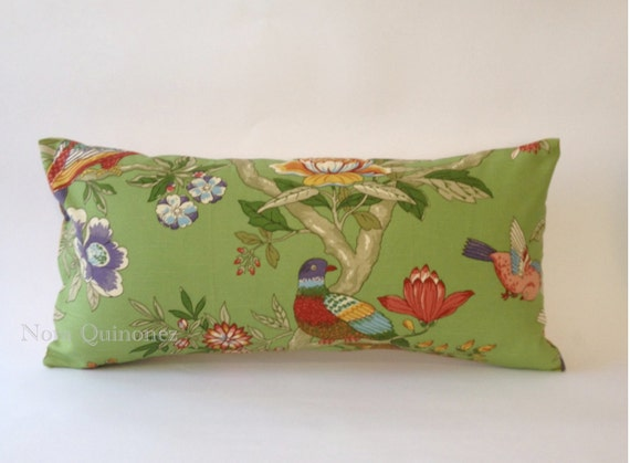 12X24 Decorative Bolster Pillow Cover -Pindler and Pindler Botanical Print with a Solid Cream Backing- Invisible Zipper Closure