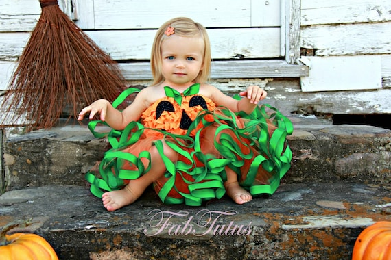 Cute Little Pumpkin costume by FabTutus - Halloween 2012 Collection - satin trimmed tutu and ruffle top with applique