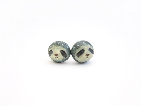 Miniature sloth earrings