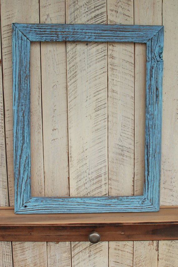 18x24 Rustic Blue Reclaimed Wood Picture Frame By Oldlikenew