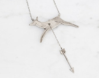 Hart & Hunt - silver deer and arrow necklace