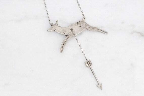 Hart & Hunt - silver deer and arrow necklace