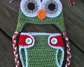 Newborn Baby CHRISTMAS Crochet OWL Red N Green Diaper Cover -n- Beanie Hat Set -- Super Cute Photo Prop