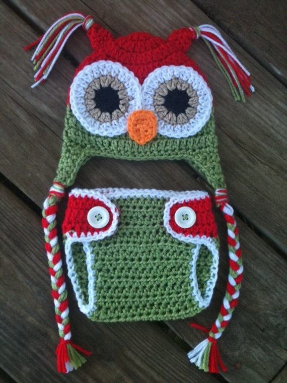 Free Crochet Owl Hat And Diaper Cover Pattern : Items similar to Newborn Baby CHRISTMAS Crochet OWL Red N ...