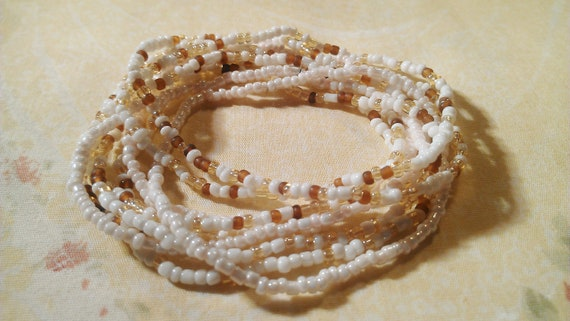 Set of 9 White And Browns Tiny Beads Stretch Bracelets