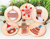 SALE Christmas Ornaments set of 6 - Round Circle Double sided - decoupage 5cm - 2' - MADEbyMADA