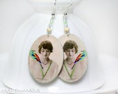 Girl with a bird Earrings  Romantic Delicate oval Jewelry 2-sided , gift for her under 25
