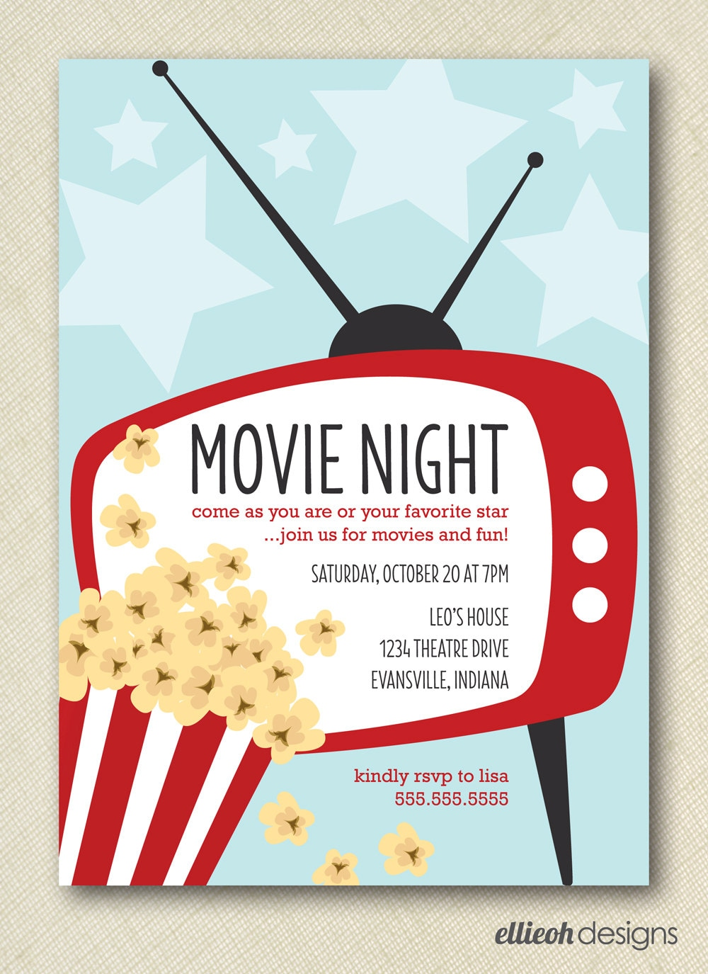 Fabulous image regarding movie night invitations free printable